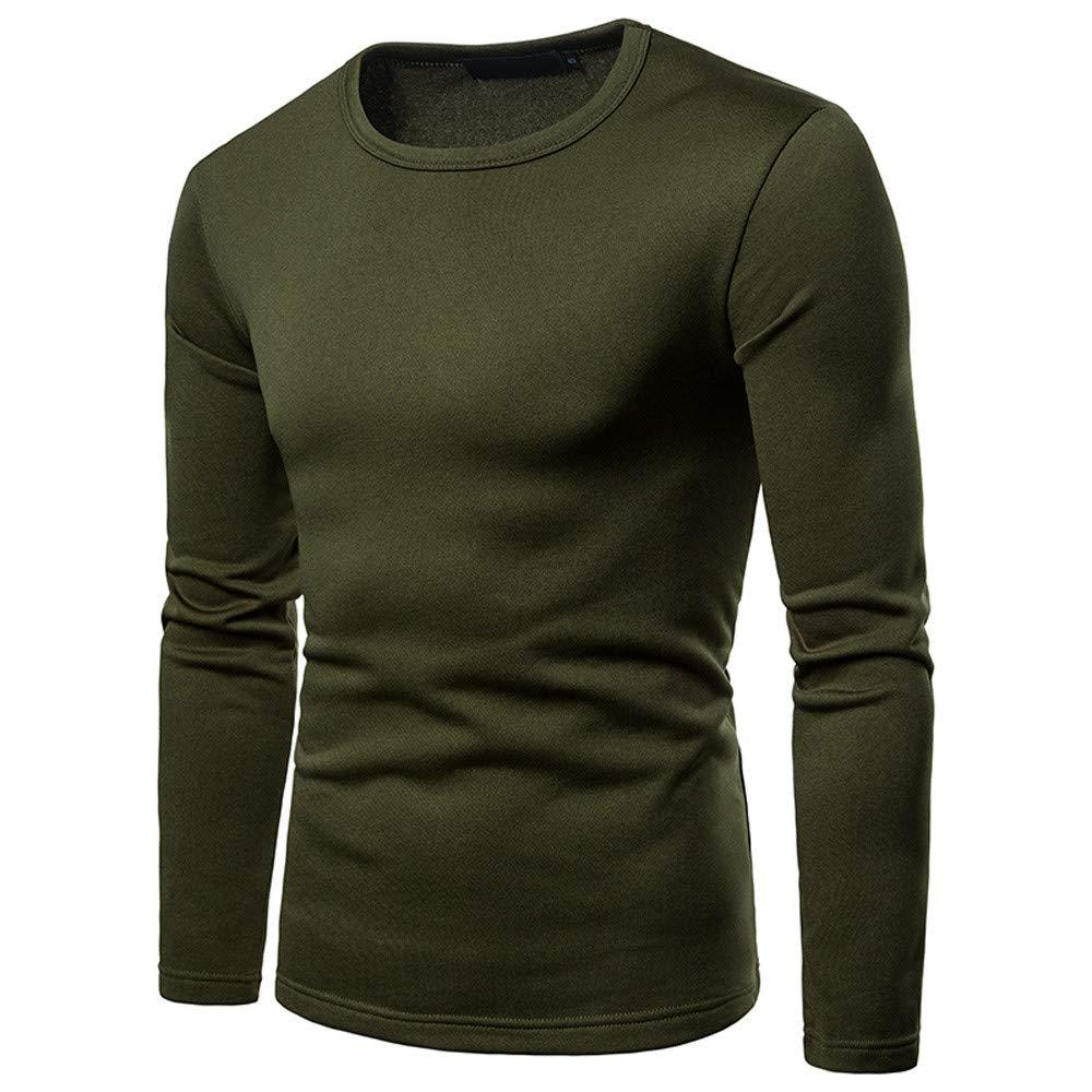 Langarmshirts Sannysis Herren Slim Fit T-Shirt Herbst Winter Freizeit Geb/ürstet Oansatz Langarm Base Shirt Top Bluse Sweatshirt