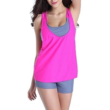 29c3cf3456565 RoxZoom Women s 3 Pieces Tankini Swimwear Bikini Set Sports Athletic  Swimsuit with Boyshorts - Gray