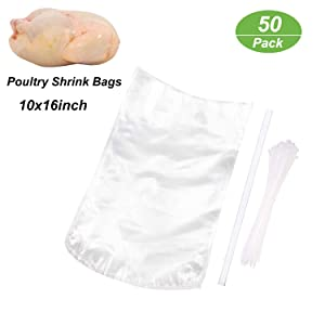 Poultry Shrink Wrap Bags,50Pack Clear Poultry Heat Shrink Bags BPA Free 10x16Inches Freezer Safe with 50 Zip Ties,a Silicone Straw for Chickens,Rabbits