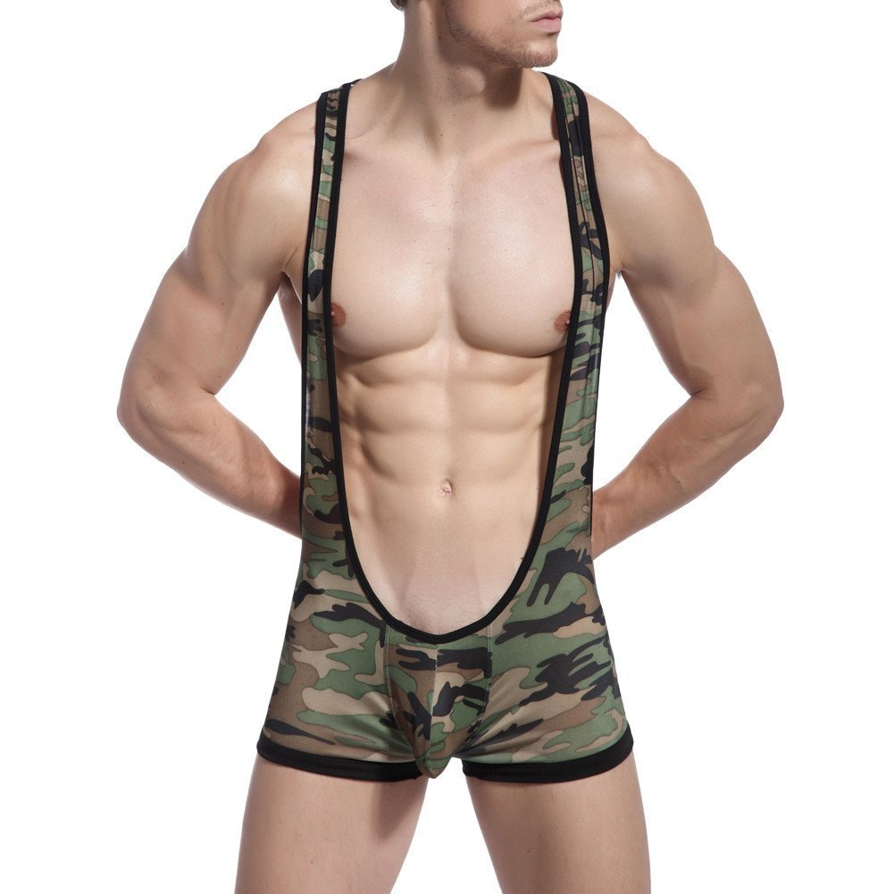 Crazy Men's Sexy Camo Lingerie Bodysuit Wrestling Sports Singlet Leotard