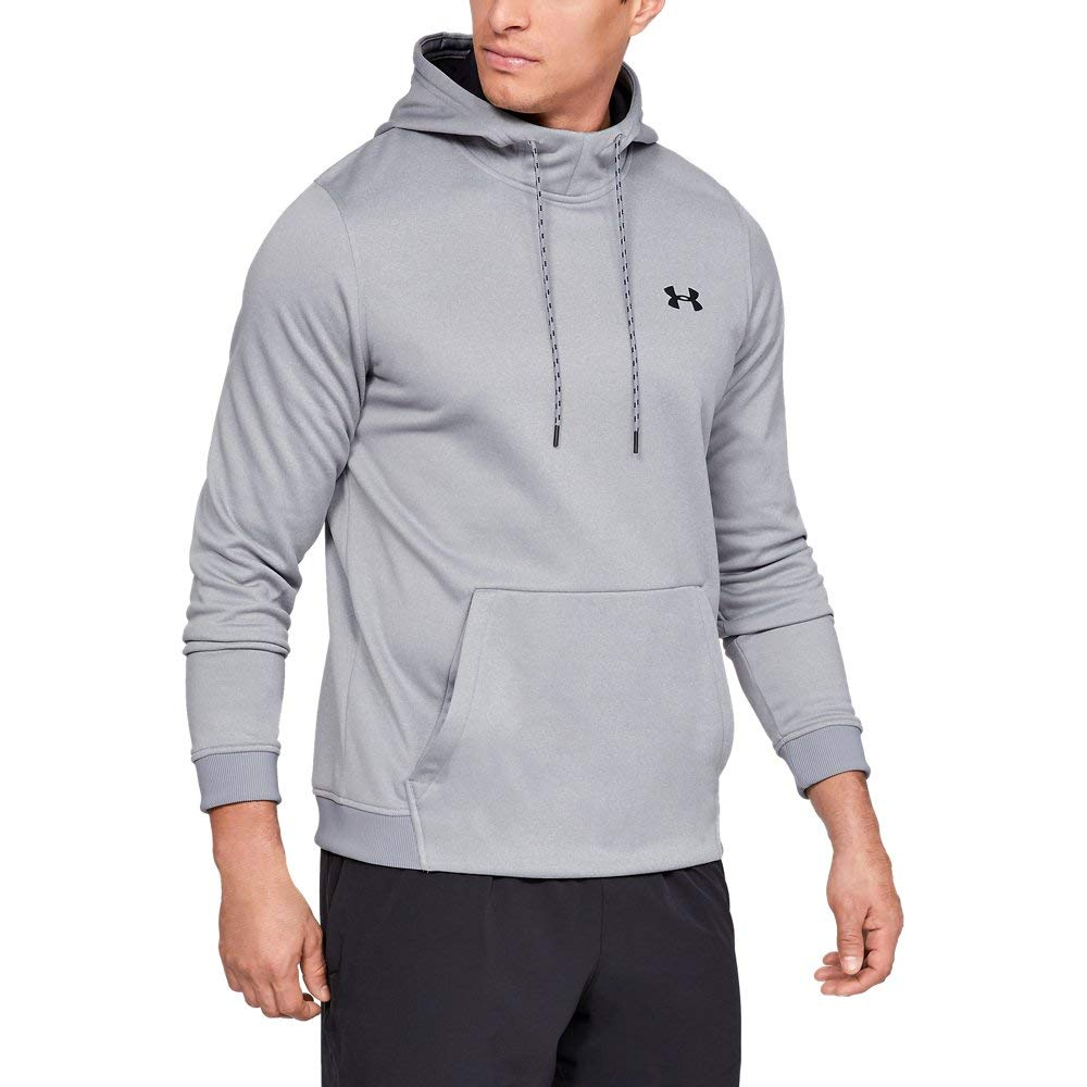 Under Armour Men's Armour Fleece Pullover Hoodie, Steel Light Heather (035)/Black, 3X-Large