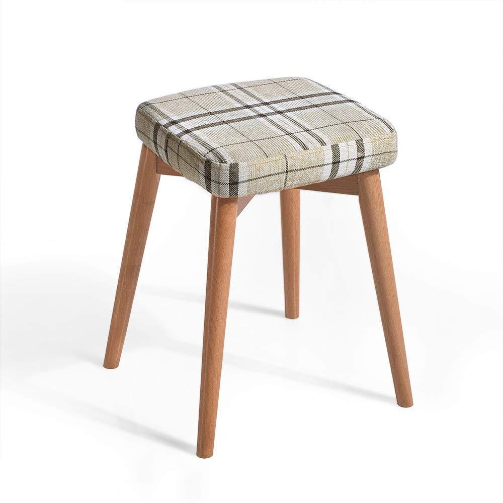 B Household Stool Solid Wood Dining Stool Square Stool Fabric Dressing Stool Fashion Makeup Stool Bench (color   A)
