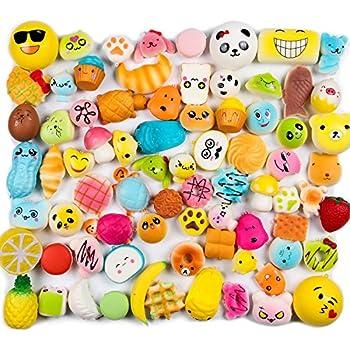 WATINC Random 10 pcs Squishies Cream Scented Slow Rising Kawaii Simulation Lovely Toy Medium Mini Soft Food squishies, Phone Straps (10P Donuts)