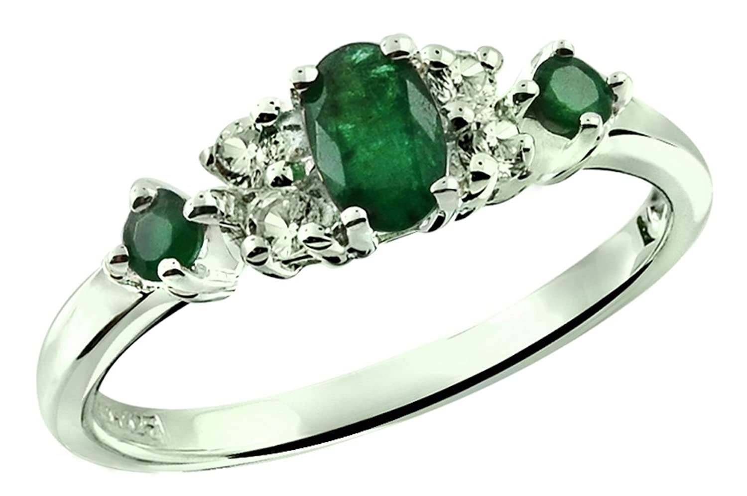 0.54 Carat Natural Emerald with White Topaz Rhodium-Plated 925 Sterling Silver Ring