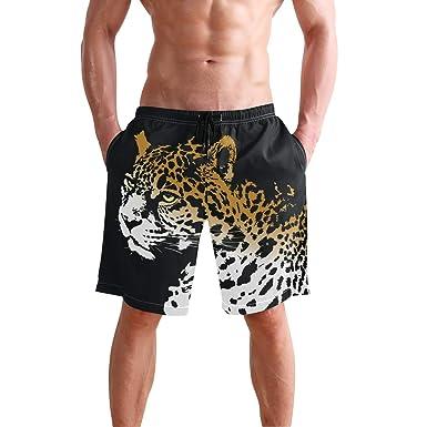 2fc10dfefba Men Beach Shorts Animal Jaguar Flat Front Drawstring Boardshorts ...
