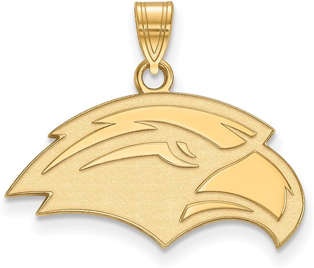 925 Sterling Silver Yellow Gold-Plated Official University of Southern Miss Small Pendant Charm 20mm x 23mm