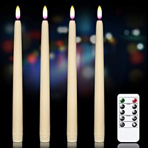 GenSwin Flameless Flickering Taper Candles with Remote Controls and Timer, Real Wax Battery Operated LED Light Window Candles Pack of 4, Christmas Home Wedding Decor(Ivory, 0.78 X 11 Inch)