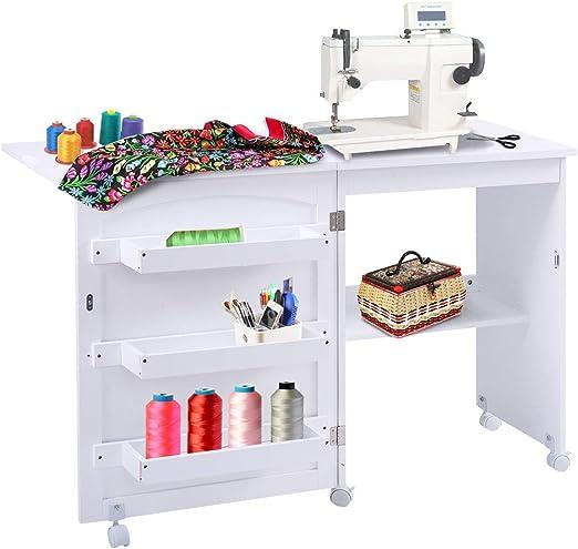 COSTWAY Armarios de Costura Mesa Plegable con Ruedas Mueble para Máquina de Coser (Blanco): Amazon.es: Hogar