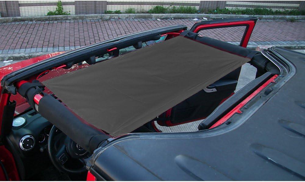 JK CheroCar Car Roof Sunshade for Jeep Wrangler /& Wrangler Unlimited 1985-2020 LJ,YJ,TJ JL,JLU Black JKU