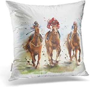 Emvency Throw Pillow Covers Horse Race Riding Sport Jockeys Competition Horses Running Watercolor Decor Pillowcases Polyester 20 X 20 Inch Square Hidden Zipper Home Cushion Decorative Pillowcase