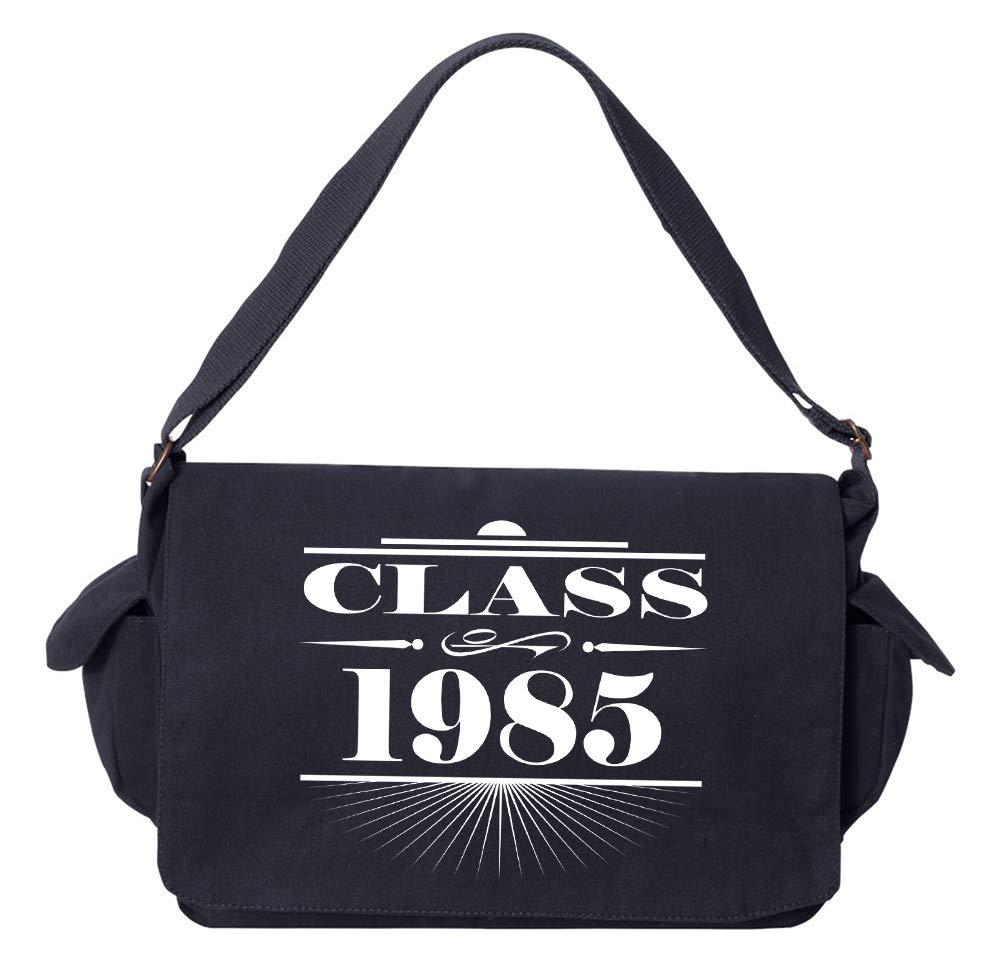 Tenacitee Art Deco Class of 1985 Khaki Green Raw Edge Canvas Messenger Bag