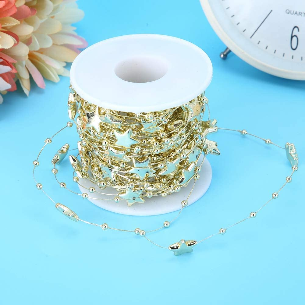 Pointed Star Decorative String DIY Wedding Party Home Decoration Pearl Bead Roll ABS Bead Chain Five Golden 10 Meters//Roll