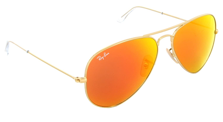 3668e8a7e70 Amazon.com  Ray Ban 3025 Aviator RB 3025 112 69 58mm Matte Gold Frame w  Brown  Mirror Orange  Shoes