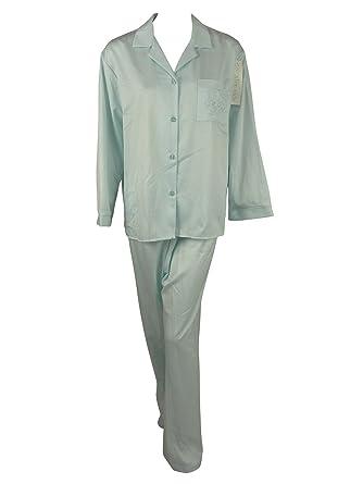 New Miss Elaine Brushed Back Satin Long Two Piece Pajama Set - Blue - S