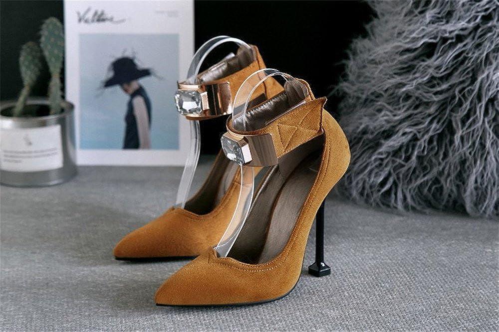 Quality.A Velcro high Heels Women's Women's Women's Pointed Toe Shoes Suede Rhinestone Sandals 40/9 B(M) US Women|Yellow B07F6TXF63 04be80