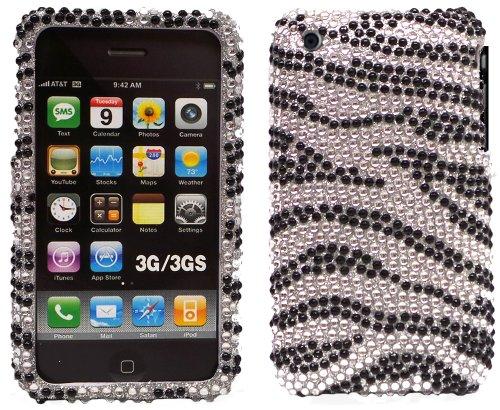 (New Full Diamond Black / Silver Zebra Diamante Protector Clip-on Case Cover Accessory for Apple iPhone 3G / iPhone 3GS)