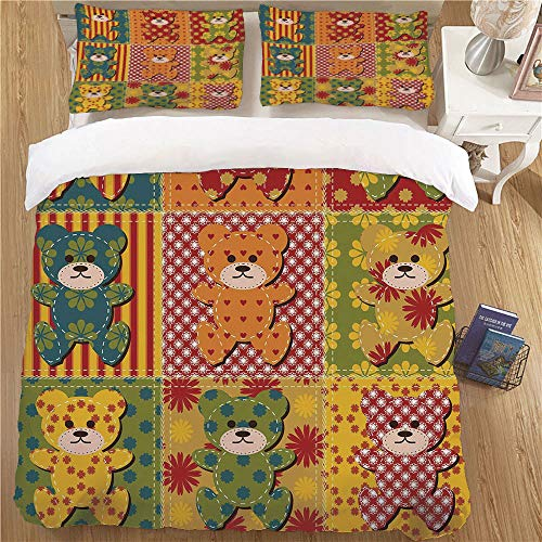 Super Sof Duvet Cover Children Comforter Cover,TWIN Size,2 Piece Soft Kids Bedding Sets Cabin Decor Colorful Kids Room Pattern with Patchwork Style Teddy Bears Cute Funny Childish Decorative Multicolo