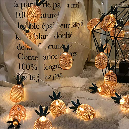 Pineapple String Lights, Outdoor Hanging String Lights For Hawaiian Luau Tropical Theme Party Festival Decorations, Bedroom Gazebo Pergola Step Patio Lights (20 LED/9.8FT/ White)]()