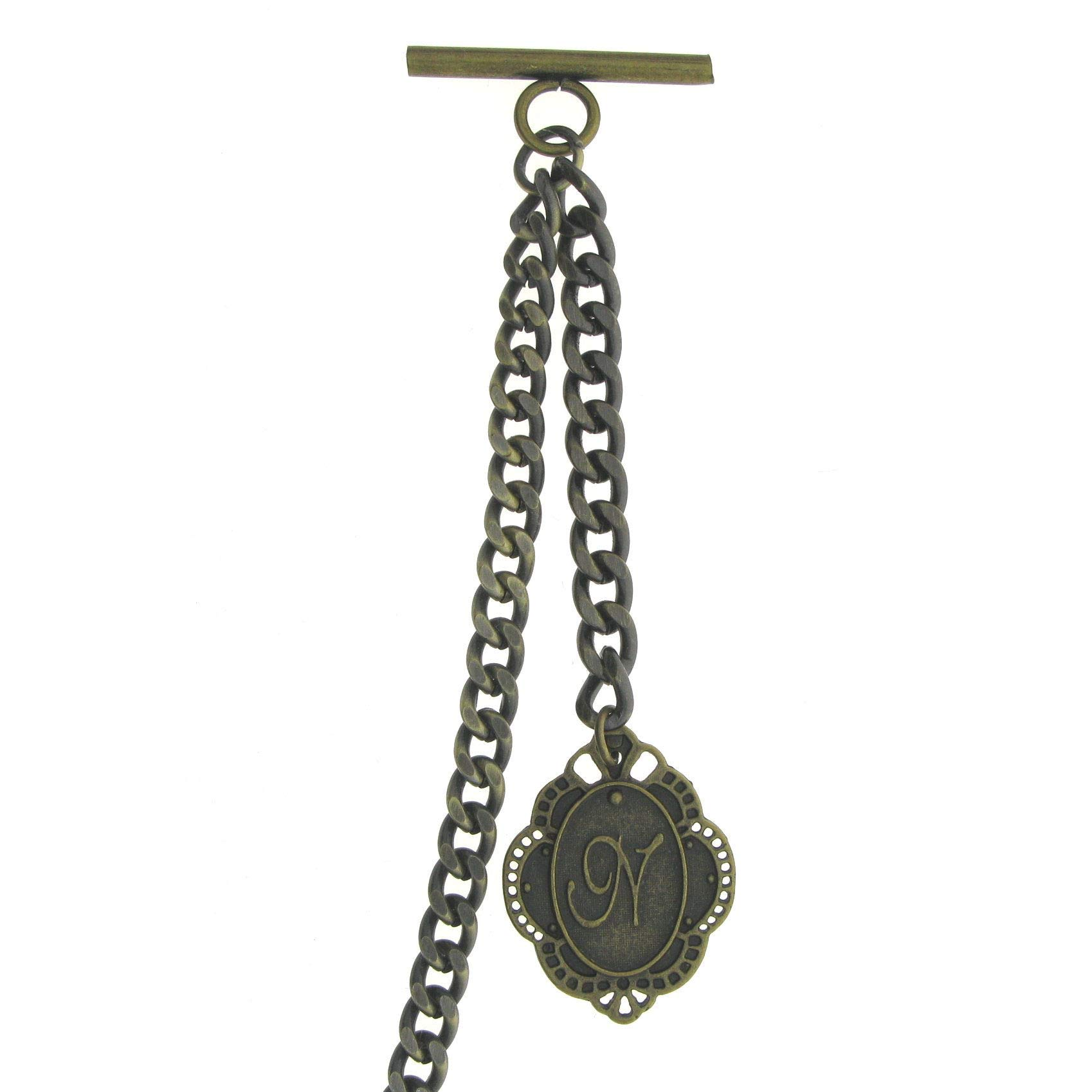 Albert Chain Pocket Watch Curb Link Chain Antique Brass Color + Alphabet N Initial Letter Fob T Bar AC84 by watchvshop (Image #8)