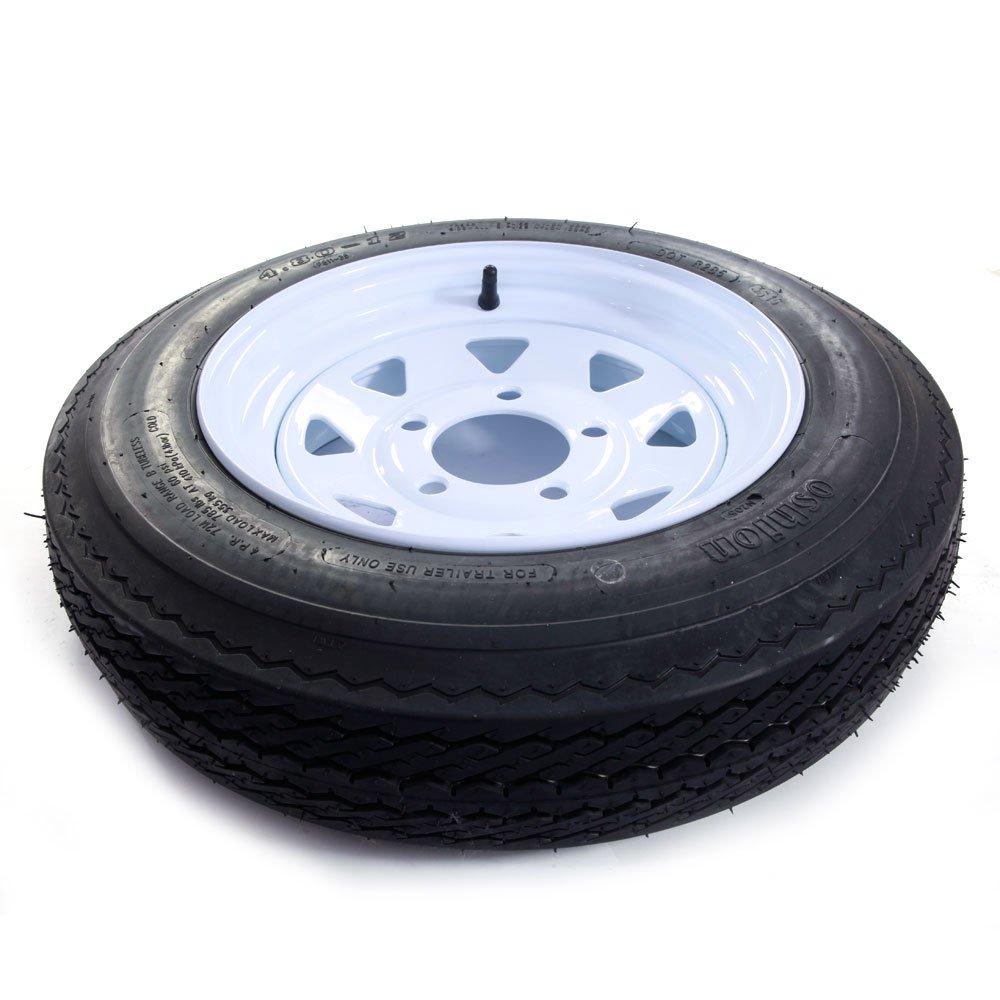 Bolt Circle Set of 2 12 5 Lug White Spoke Trailer Tires /& Rims 4.80-12 Tire Mounted 5x4