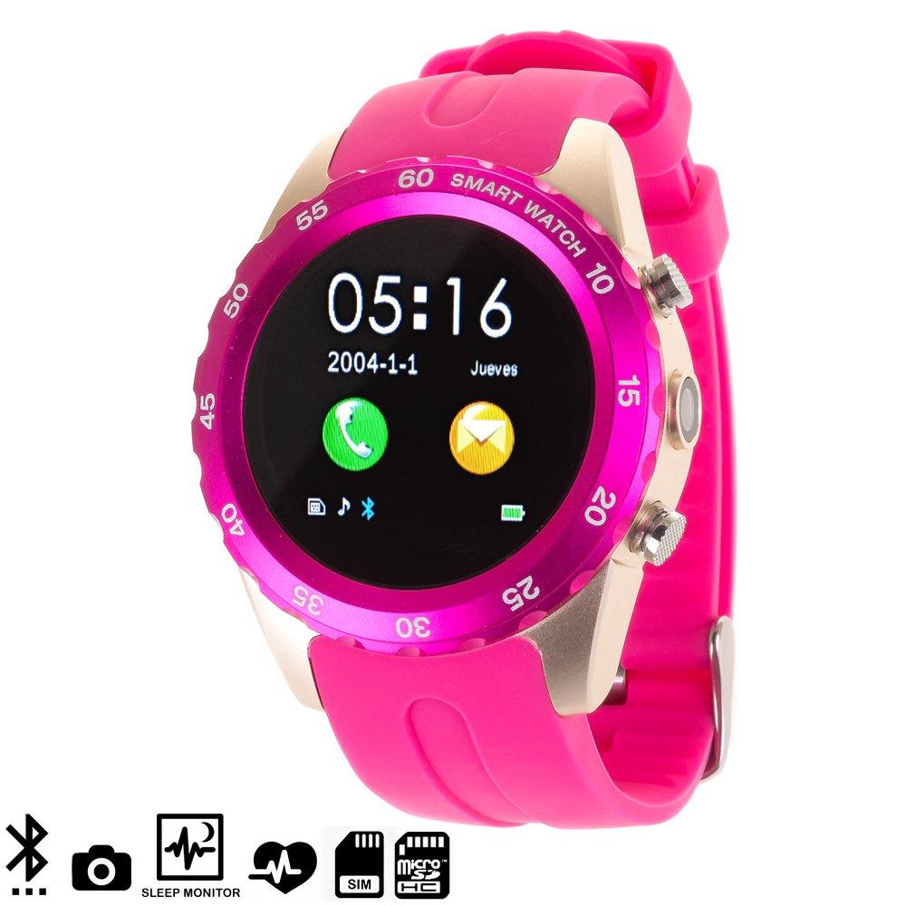 DAM - Smartwatch Bt Con Cámara Y Monitor Cardiaco Kw08 Pink. Posibilidad de tarjeta SIM y tarjeta de memoria micro SD. Cámara de fotos incorporada con ...