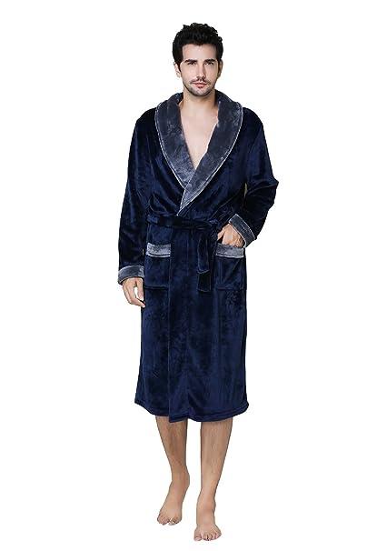 Pijama de franela de lujo para hombres Albornoz suave de 100% poliéster