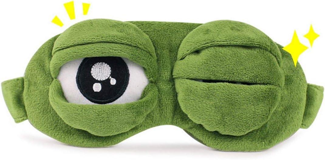 Dr/ôle Creative Pepe La Grenouille Triste Grenouille 3D Masque Pour Les Yeux Couverture Dormir Reste Bande Dessin/ée En Peluche Masque De Couchage Mignon Anime Cadeau