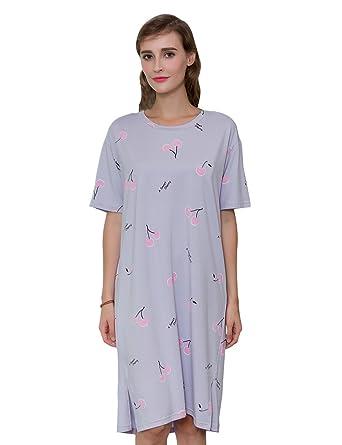 1d253fdbef12f0 QianXiu Damen Nachtwäsche Bequem Gestrickte Baumwolle Nachthemd Startseite  Bekleidung