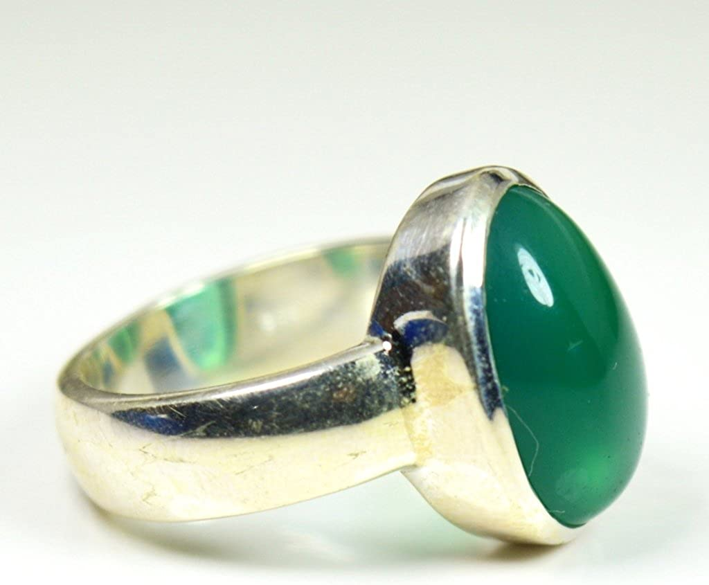 Details about  /Sterling Silver Ring Green Onyx Natural Gemstone Size 4-11