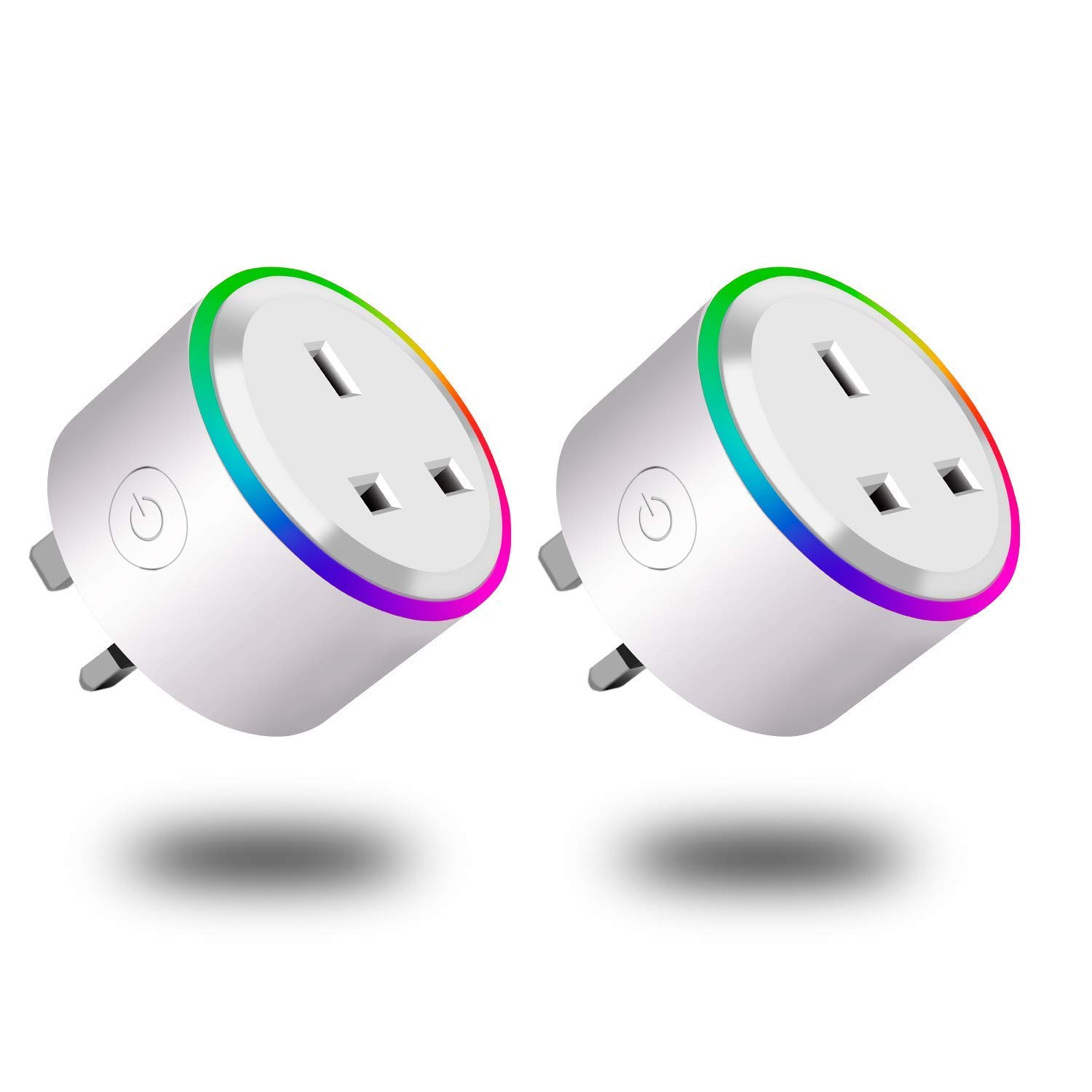 Wifi Smart Plug, Mini Smart Socket Compatible with Alexa (Echo And Echo Dot) Google Home And IFTTT, Wireless Socket RGB Scene LED Light Remote Control Timer Plug Switch No Hub Required (2 Pack) WANGTAO