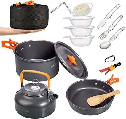 Cookware Cutlery Set Camping Pot Pan Water Kettle Spoon with Storage Bag