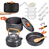 Overmont 15pc 1.95 Liter (Pot+ Kettle) Camping Cookware Mess Kit, Lightweight Pot Pan Kettle Fork Knife Spoon Kit for Backpac