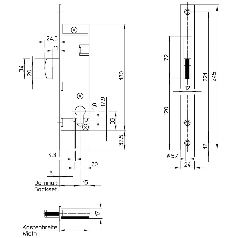 WILKA Haken-Schwenkriegel-Einsteckschloss 1436 f/ür Rohrrahment/üren Stulp 245 mm flach Edelstahl Dornma/ß 40 mm f/ür Profilzylinder vorgerichtet