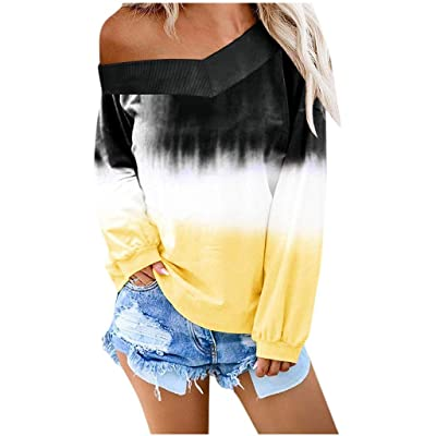 Women's Casual Sweatshirt O-Neck Gradient Contrast Color Long Sleeve Hoodie Pullover Top: Clothing