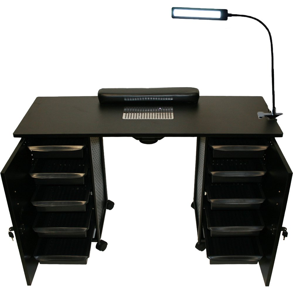 LCL Beauty Black Steel Vented Double Storage Manicure Nail Table Desk Salon Spa Equipment