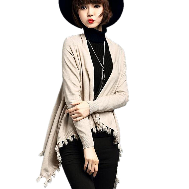 Urban Fashion Women's Oversized Asymmetrical Hem Textured Fringe Poncho