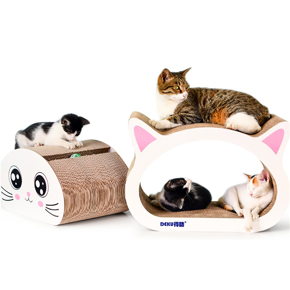 Eofon 2 in 1 Jumbo Durable Cat Scratcher Lounge Furniture Play Rest Cardboard Bed,Interactive Kitty Ball Toy,No Assembly Required