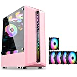 WSNBB Gaming Case, Mid-Tower/ATX/M-ATX/ITX PC Gaming Computer Case,Fully Transparent On The Sides,with 5 Color Fans,for Desktop PC Computer (Color : Pink)
