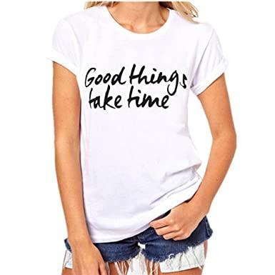 662d8af382937 Pengy Women s Summer Fashion Letters Printing Short Sleeve Round Neck White Tees  T-Shirt Blouse