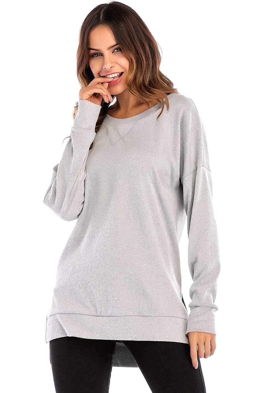 Preferhouse Women's Pullovers Cute Long Sweatshirts High-Low Trim Slit PE-113184