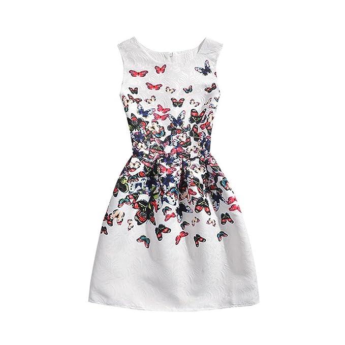 suolakexi Niñas 5 – 10 años flores boda Princesa Mariposa Vestido De Fiesta Blanco blanco 34