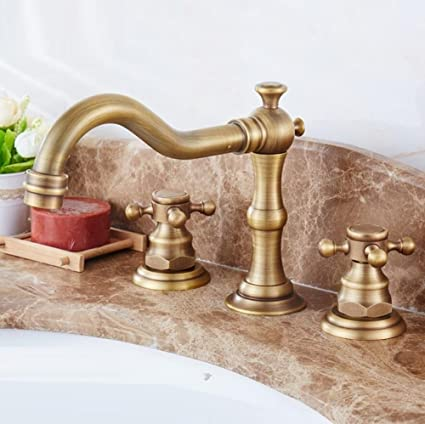 Amazon.com: LIUJIANGLONG Copper antique three-hole wash basin faucet ...