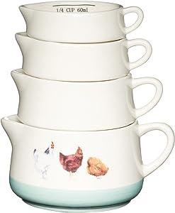 Kitchen Craft Apple Farm Hand-Finished 'Hazel Hen' Ceramic Measuring Cups - Cream/Green (Set of 4)