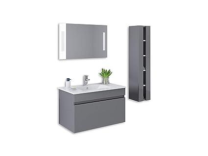 Brilliant 32 Grey High Gloss Wall Mount Vanity Set Mirror Sink Download Free Architecture Designs Viewormadebymaigaardcom