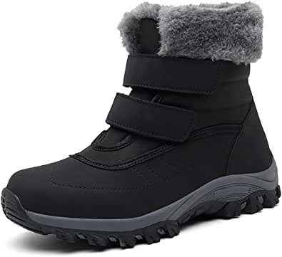 Drecage Women's Snow Boots with Warm Fur Lining Winter Waterproof Shoes Anti-Slip Outdoor Ankle Boots