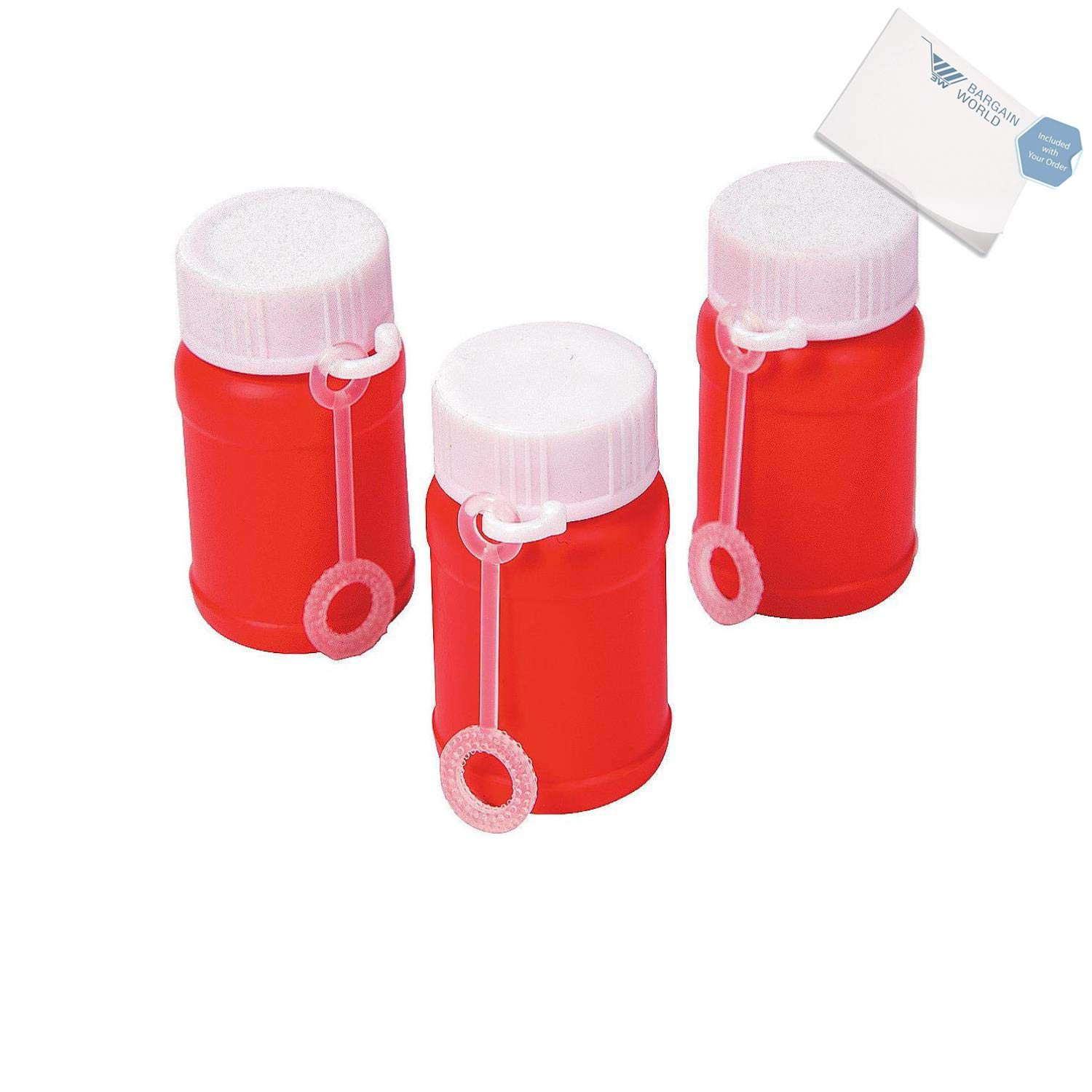 Bargain World Plastic Red Mini Bubble Bottles (With Sticky Notes)