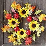 Convinced Front Door Decor,Wreath Hangers,60cm Rattan Berry Maple Leaf Fall Door Wreath Door Wall Ornament Halloween