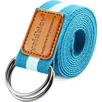 Verstelbare de Yoga Riem 1.85/2.5M, D-Ring Gesp Pilates Stretch Riemen, Natuurlijk Katoen Voelt, Vaste Houding…