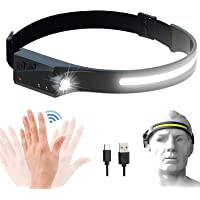 Rechargeable LED Headlamp with 230° Illumination, Motion Sensor Headlamp with 350 Lumens, IPX4 Waterproof, High…