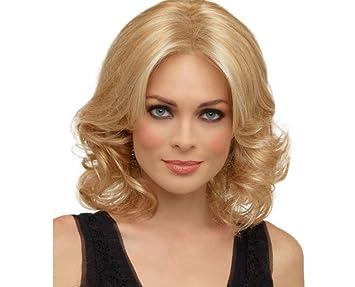 XYLUCKY Moda alta calidad mujer rubia peluca corta rizada